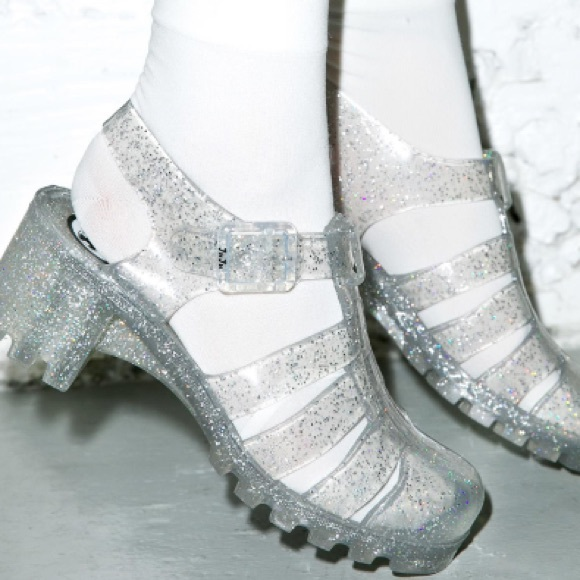 JuJu Clear and Silver Jelly Shoes Urban Outfitters